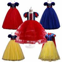 Vestido de fiesta Vintage de Blancanieves para niñas, elegante vestido de princesa de verano, blanco nieve, Cosplay, disfraz de Halloween
