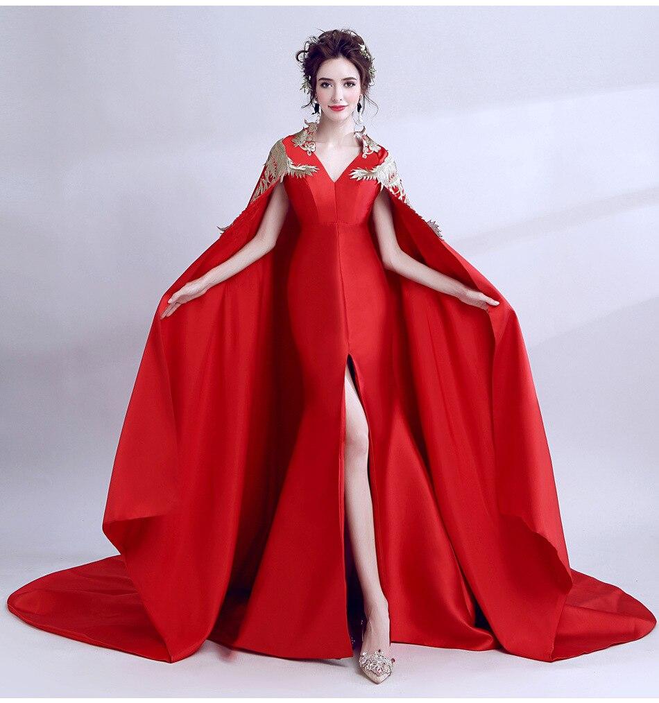 2018 nouvelles robes de bal rouges avec longue Cape arabe pakistanaise robes de soirée formelles sirène sur mesure vestidos de noiva