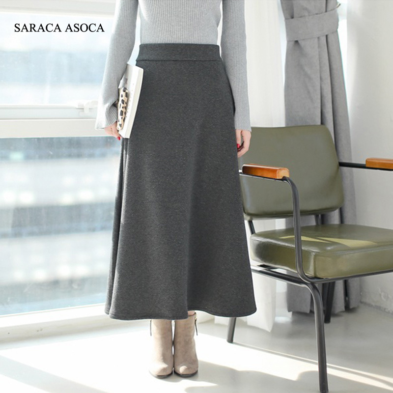 Autumn Fashion Thickening Long Pleated Skirt Women's Ankle ...