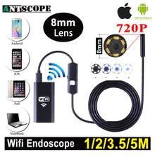 Antscope 1 м 2 м 5 м Wi-Fi эндоскоп Камера Android 720 P iPhone бороскоп Водонепроницаемый Камера эндоскопическая Android IOS boroscope Камера