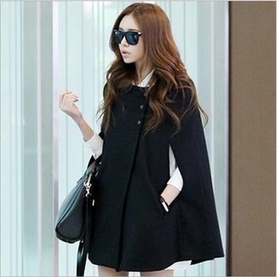 Corea 2015 moda mujeres Ponchos cabo primavera abrigo Batwing capa BBwqraO