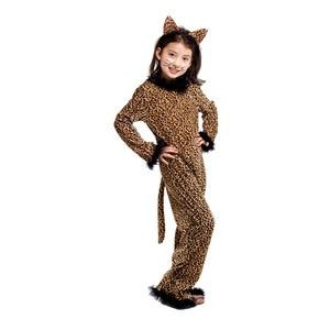 Image 4 - Halloween Leopard kostium dla dzieci dziewczyna Kitty Catwoman Cosplay zima dzieci piżama w zwierzątka Masquerade karnawałowa sukienka