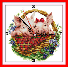 Pig in flower basket cross stitch kit 14ct 11ct count print canvas wall clock stitching embroidery DIY handmade needlework(China)