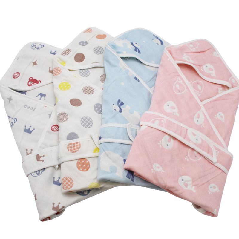 Baby Bath Towel Envelopes Soft Organic Cotton Baby Bath Hooded Blanket Multi-Layer Swaddle for Toddlers Sleeping Bag bedding