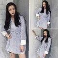 Coreano Do Vintage Solta Casuais camisa listrada de manga comprida Com Decote Em V Assentamento camisa maré feminino