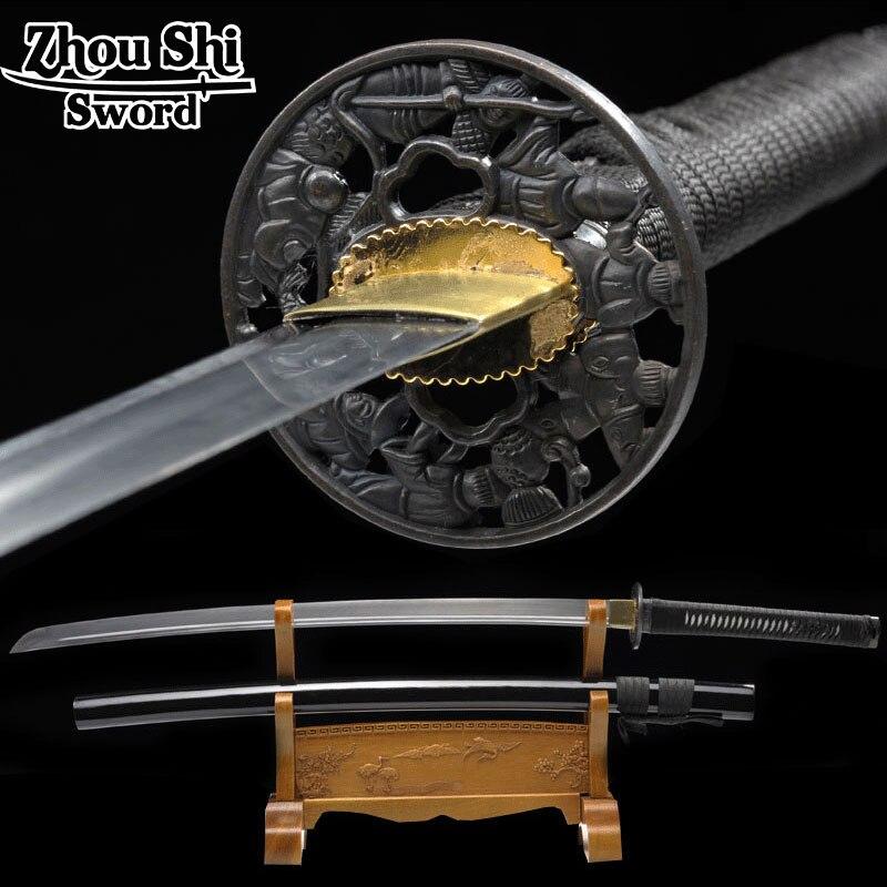 Handmade Japanese Samurai Sword Katana 1060 Carbon Steel Full Tang Blade Sharp-Custom Real Katana Swords Battle Ready