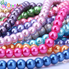 OlingArt 8MM 30pcs/lot Glass Beads Round Imitation Pearl Bracelet DIY Earrings Charms Necklace for Jewelry Making