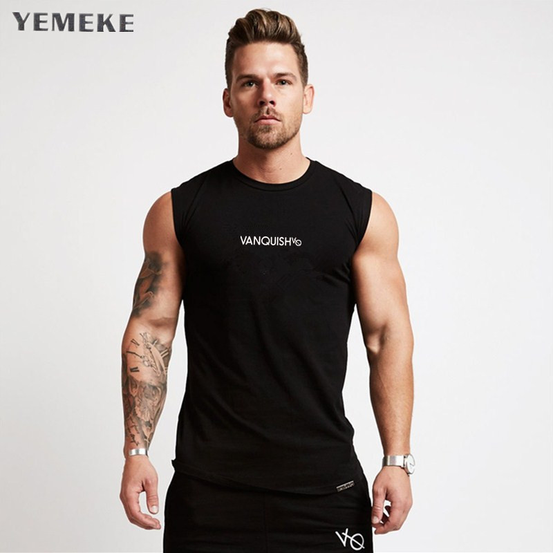 Gym Shirt Fitness Men Real O-neck Pinli Product Set Plus Summer New Mens Wear Loose Round Collar Printed Under Vest B182314043 Tank Tops