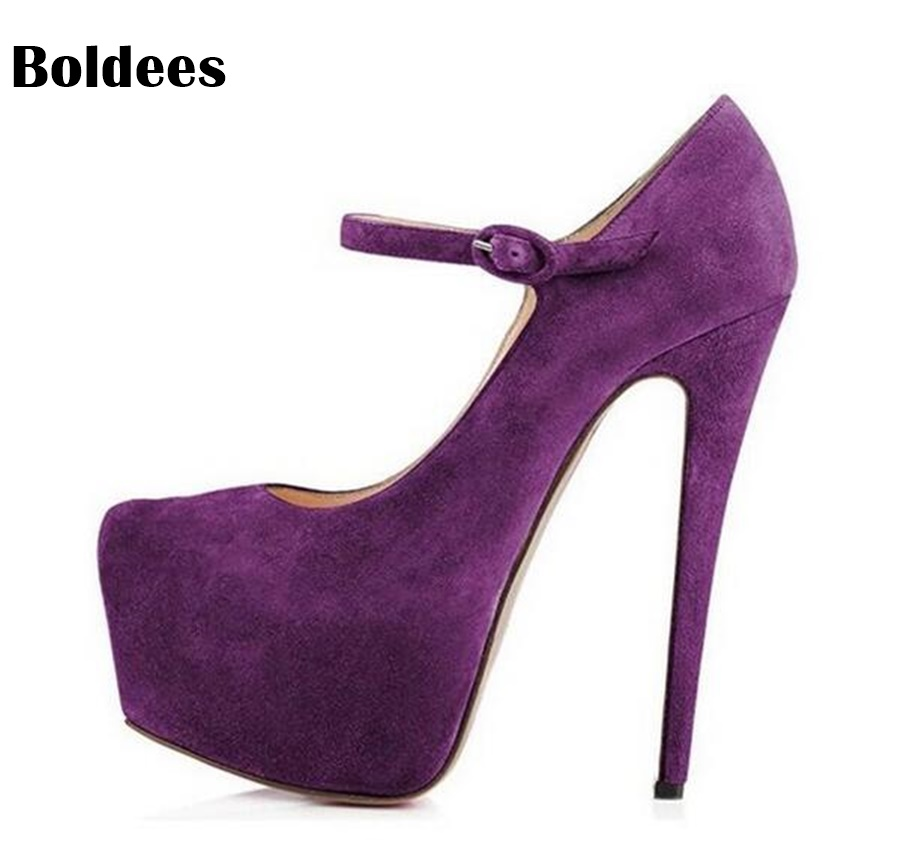 Fashion Women Party Platform Pumps Round Toe Thin High Heels Pumps Stylish Black Nude Purple Shoes Woman Big Size 45 new sexy thin high heels shoes women pumps 2018 spring round toe platform single shoes women wedding party big size 34 45 27 5cm