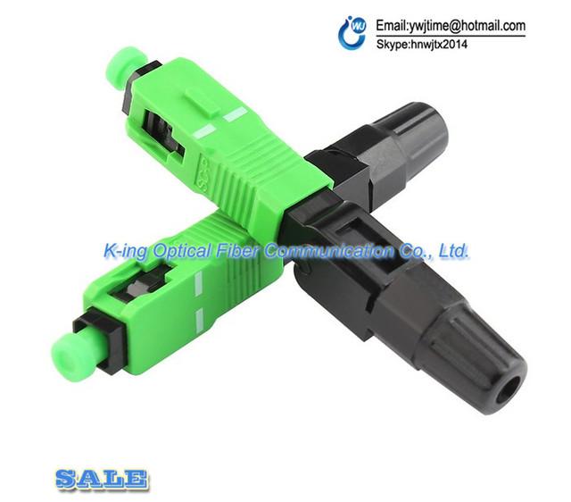 10 pcs De Fibra Óptica Conector Rápido SC/APC Conector Do Fio Coberto para a Transmissão de CATV/FTTH, Frete Grátis