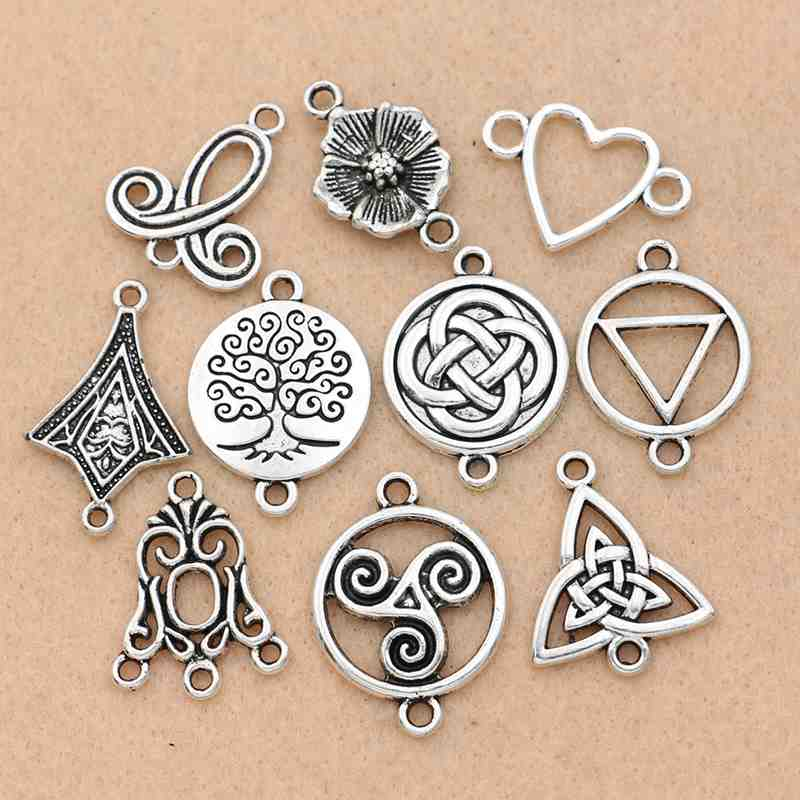 10pcs Antique Silver Spacer Bead Charm Pendants 12mm DIY Crafts Findings