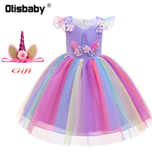 Unicorn Girl Fancy Tulle Dress New Year Rainbow Pony Costume Fluffy Flutter Sleeve Tiered Baby Horse Clothes