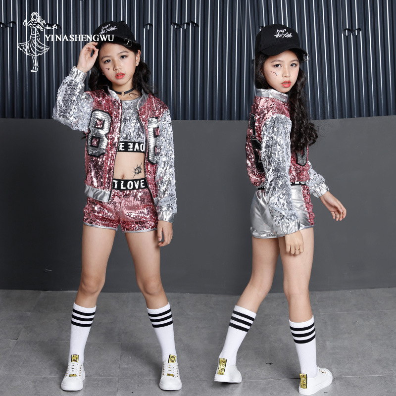 Jazz Dance Costumes For Girls Shining Street Dance Clothing For Girl Modern Dance Costumes Children Hip Hop Dance Costumes