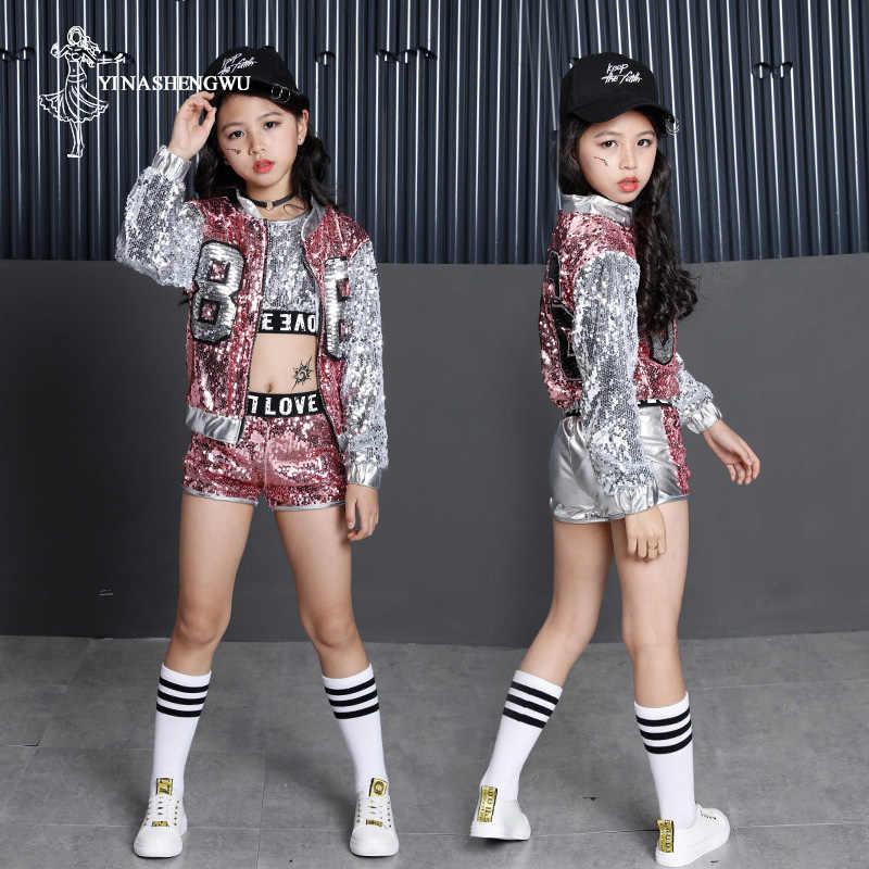 Trajes de baile de jazz para niñas, ropa de baile callejero brillante para niñas, trajes de baile moderno para niñas, trajes de baile de hip hop para niños