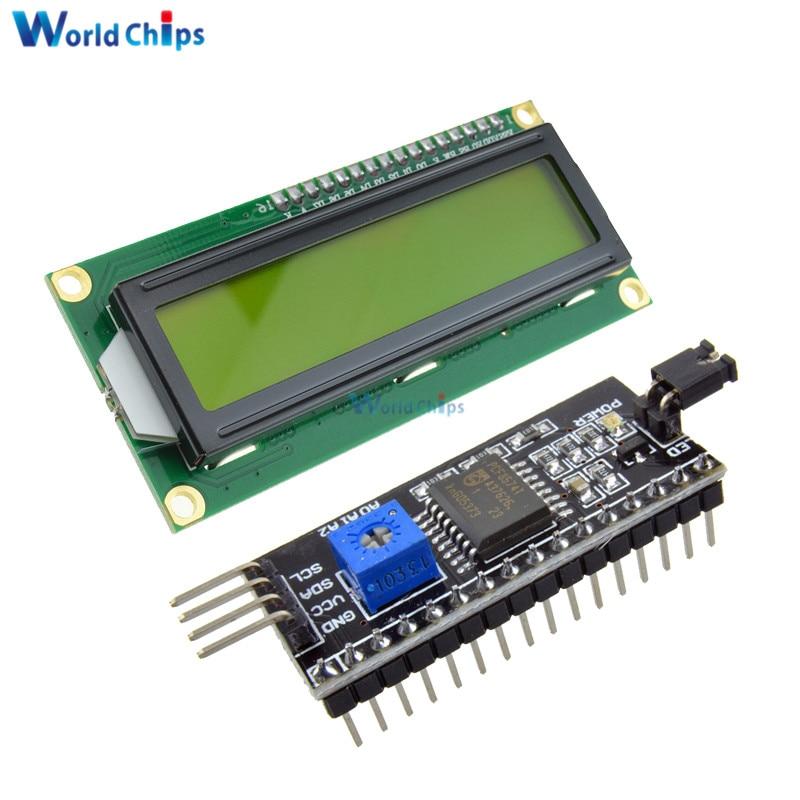 IIC/I2C/TWI/SPI Serial Interface Board Module+LCD1602 1602 Module Yellow Screen 16x2 Character LCD Display Module 5V For Arduino
