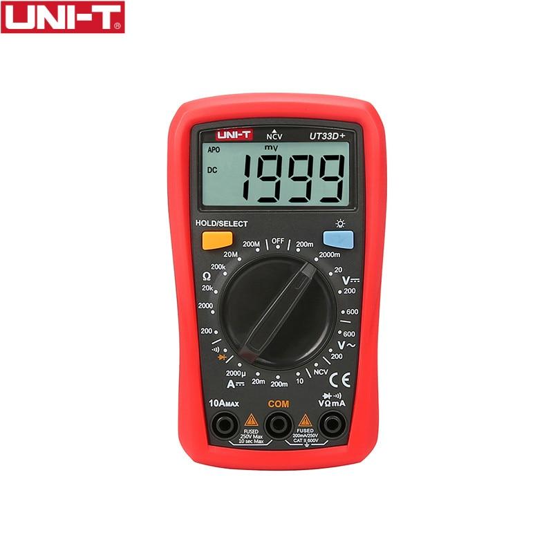 UNI-T UT33D + Multímetro Digital da Auto Escala do Tamanho Da Palma de Capatitance AC DC Voltímetro Amperímetro Resistência Tester