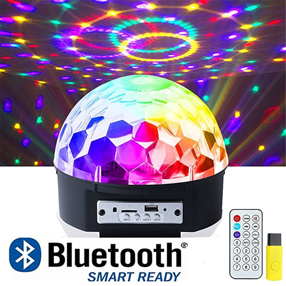 Disco Ball Party Lights, 9 Colors Rotating LED Disco Stage DJ Lights Sound Activated Crystal Magic Light Projector with Remote 6w e27 led stage light rgb lamp with voice activated mp3 projector crystal magic ball rotating disco dj party stage lighting
