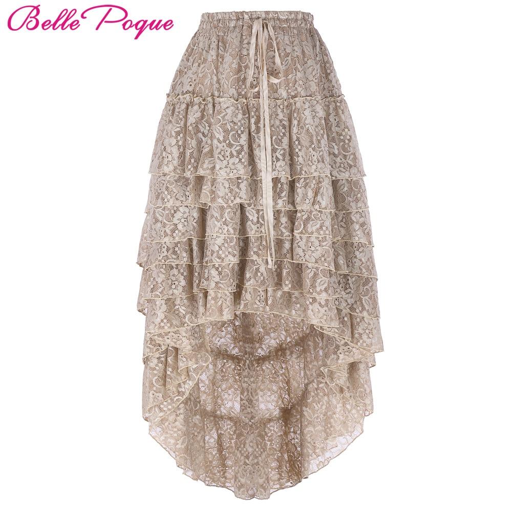 2018 Steampunk Fluffy Skirt Tan Retro Ruffled Chiffon Cake High Low Lace Midi Skirt Plus Size Fluffy Skirt for Women Ball Gown black mesh fluffy midi skater skirt
