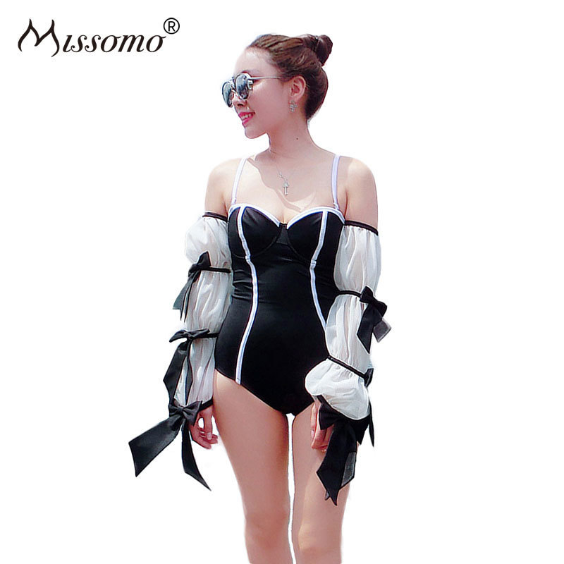 Missomo Women Black Sexy Off Shoulder Bodysuit Color Block Steel Bandeau Puff Sleeve Jumpsuit Streetwear Casual Playsuit