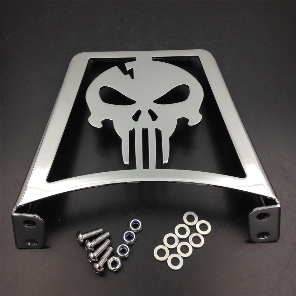 Aftermarket free shipping motorcycle parts Skull Luggage Rack For Harley XL FLSTC FLSTF FLSTS FXST Sportster 883 1200 Chrome chrome motorcycle detachables luggage solo rack case for harley sportster xl 883 1200 1994 2003