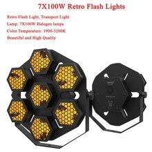 โคมไฟ LED 7X100W Retro แฟลชขนส่งแสงดิสโก้ปาร์ตี้ไฟ Professional STAGE ผลแสง DJ อุปกรณ์