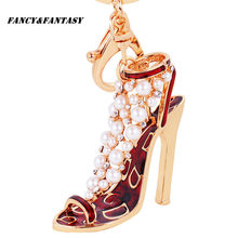 Fancy&Fantasy 2017 New Creative Gifts With High-Heel Shoe Studded With Pearl Keychains Multicolor Girl Purse Handbag Keychain(China)