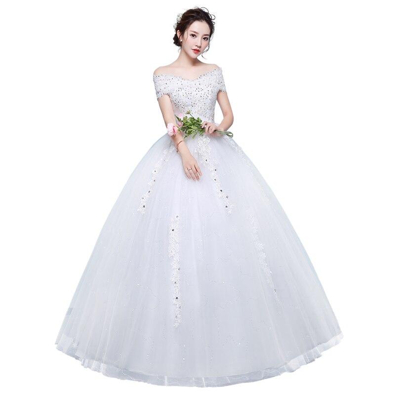 Wedding Dresses New Bride Lace Up Wedding Dresses Married Shoulder Large Size Princess Dress Ball Gowns