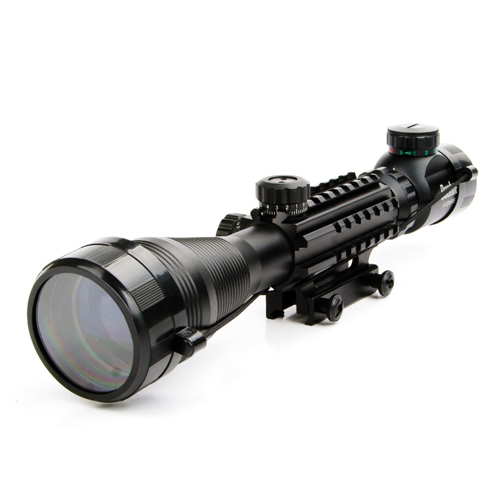 4 12X50EG Tactical Optical Riflescope 4 Reticle Sight Red and Green Illuminated with 20mm Rails Mount