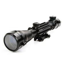 4-12X50EG Тактический Оптический Прицел 4 Сетка Прицел Красный и Зеленый Горит с 20 мм Rails Горе для Охоты Пневматический Пистолет сфера