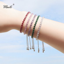 Miallo 2019 Newest AAA Cubic Zircon Bracelet for Women Wholesale Red Green Purple Pink Clear CZ Bracelets & Bangles Girls