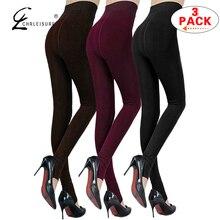 722b1aaf1fe6 CHRLEISURE 3-Pack Warm Winter Leggings Women Pants High Waist Thick Velvet  Leggins Skinny Legging