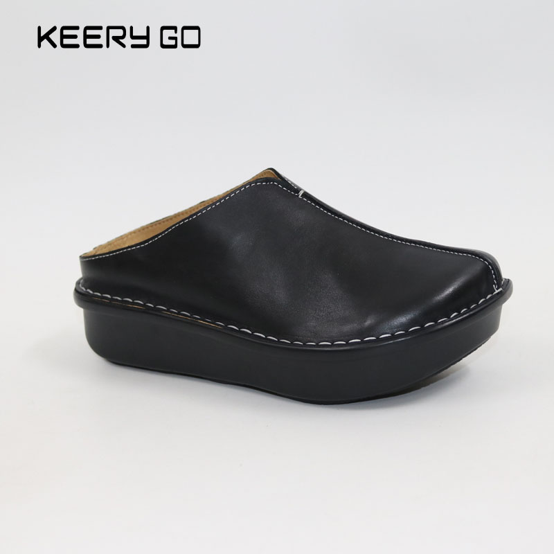 New high-end fashion comfortable slipper bottom thick cattle all-match цена