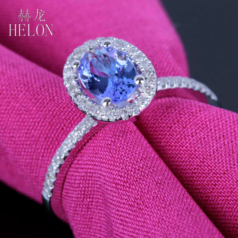HELON 7x5mm Oval Sterling Silver 925 Grade A Tanzanite Ring Pave Natural Diamonds Ring Engagement Gemstone