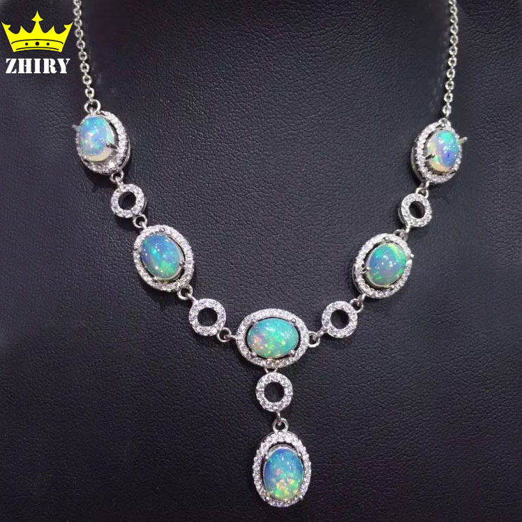 Natural Opal Gem Necklace Woman Semi Precious Stone Pendant Solid 925 Sterling Silver Lady's Fine Jewelry
