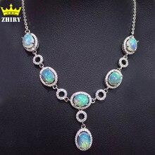 Природный Опал Камень Ожерелье Женщина Полудрагоценных Камней Кулон Твердых Стерлингового Серебра 925 дамская Ювелирных Украшений