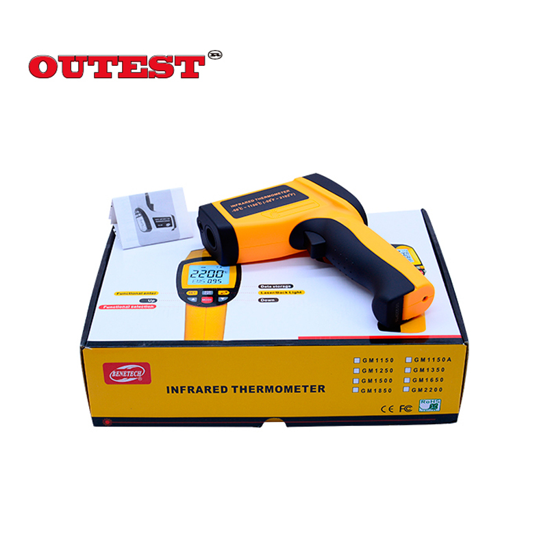 OUTEST Digital laser Infrared IR Thermometer Gun -50~1150C(-58~2102F) GM1150 Non-contact LCD Gun Style temperature meter digital infrared ir thermometer laser temperature gun non contact 50 1 with lcd backlight gm1350 18 1350c 50 1