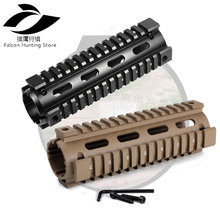 Gun Accessory 6.75 inch Free Float Handguards 2 Piece Drop-In Quad Rail for Airsoft AR15 M16 Rifle Scope Mount