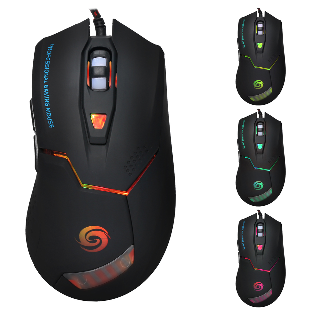 3200DPI Standard 6 Buttons 7 Colors LED Optical USB 2.0 High-end Gaming Mouse Mice For PC Adjustable USB Wired Gaming Mouse