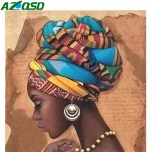 AZQSD diamant broderie vente femme africaine diamant peinture Portrait photo de strass décor à la maison artisanat mur Art(China)
