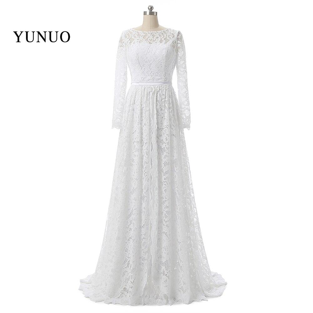 ᐊVendimia Masajeadores de cuello Encaje largo Vestidos de novia con ...