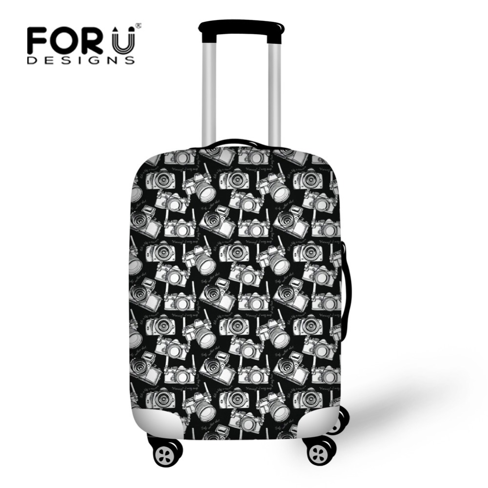 FORUDESIGNS Black Camera Printing Cute Luggage Cover Elastic Travel Suitcase Cover Personalized Portable Trunk Case Cover Zipper ...