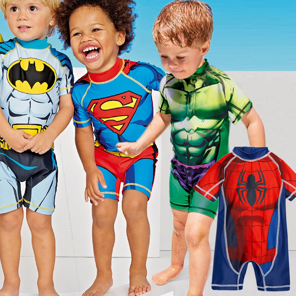 Kids Swimwear One Piece Boys Swimsuit Minions Batman Swimming Children Captain America Sport UPF50+ Beachwear Baby Bathing Suit
