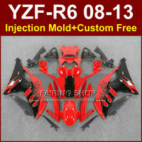 Red black custom fairings for YAMAHA 2008 2009 2011 2013 YZF R6 Injection mold bodyworks YZF R6 08 13 aftermarket YZF1000 R6