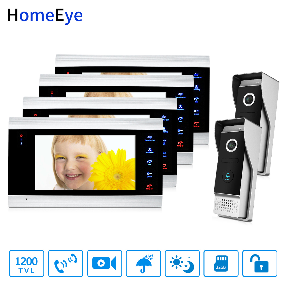 HomeEye 7'' 1200TVL Video Door Phone Video Intercom 2-4 Security Access System Motion Detection Multi-languages Menu For 2 Locks