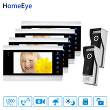 HomeEye 7 1200TVL Video Door Phone Intercom 2-4 Security Access System Motion Detection Multi-languages Menu for 2 Locks