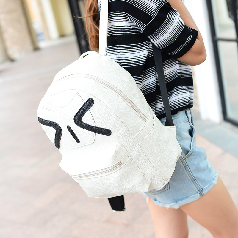 Pu leather simple cute cat shoulder bag Korean version of the school backpack men and women