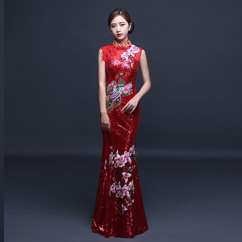 Элегантные женские Павлин, цветок Qipao винтажные аппликации блёстками китайский женский халат со стоячим воротником, с цветочным принтом китайская Невеста Свадебное банкетное платье - Цвет: Red