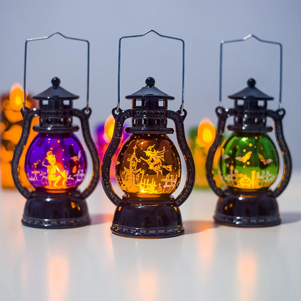 Halloween Decoration Small Oil Lamp Retro Lanterns Holiday Party Atmosphere Decoration Lights