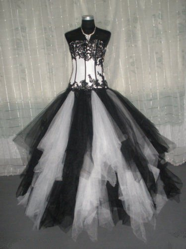 Ball Gown Lace Black And White Wedding Dress Gothic Ruffle Skirt