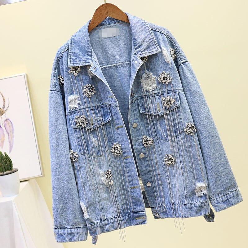 구멍 청바지 자켓 여자의 봄과 가을 outwears 새로운 패션 드릴 드리 워진 구멍 피어싱 짧은 빈티지 데님 재킷 코트-에서베이식 쟈켓부터 여성 의류 의  그룹 1